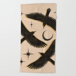 Black birds flying with the Moon Beach Towel