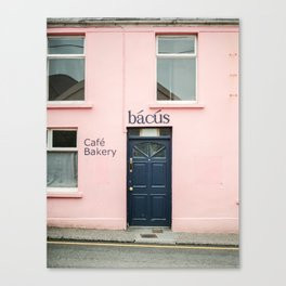 """Travel photography print """"Pastel pink bakery in Dingle Ireland"""" - Blue and pink print door Canvas Print"""