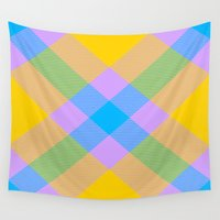 bands Wall Tapestries featuring Tartan Pattern 8 by Latidra Washington