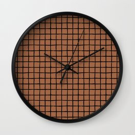 Geometric raster minimal raw brush strokes grid pattern copper Wall Clock