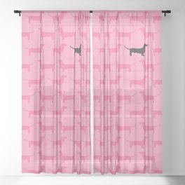 Pink Dachshunds Pattern Sheer Curtain