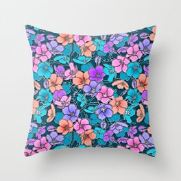 Modern abstract teal coral pink navy blue floral Throw Pillow