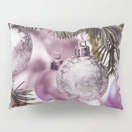 Pink Christmas shimmering baubles twig Pillow Sham