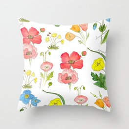 Types of Poppies Throw Pillow