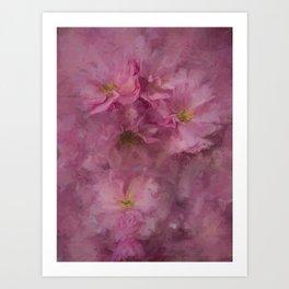 Pink flower painting - by Brian Vegas Art Print