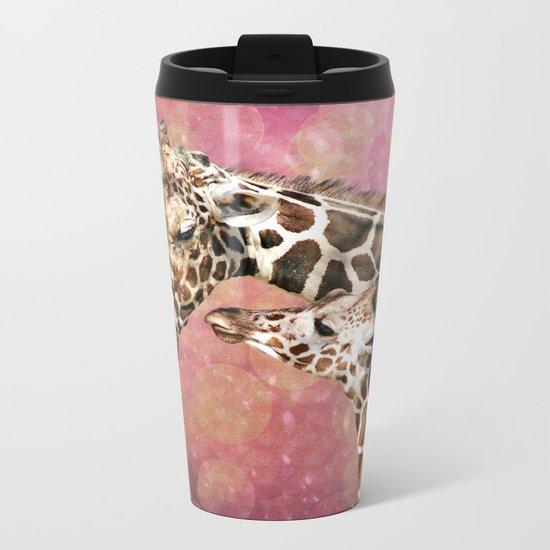 Baby and Mom Giraffe Metal Travel Mug