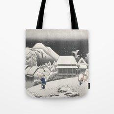 Kanbara Station - Vintage Japan Woodblock Tote Bag