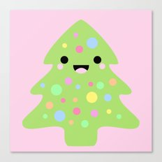 Happy Kawaii Christmas in Pink Canvas Print