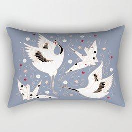 Origami Crane Metamorphosis (Blue) Rectangular Pillow