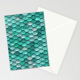 Aqua & Mint Mermaid Glitter Scales - Luxury Mermaid Scales Stationery Cards