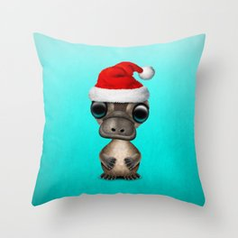 Christmas Platypus Wearing a Santa Hat Throw Pillow