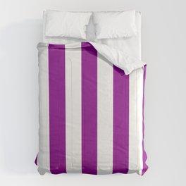Dark magenta violet - solid color - white vertical lines pattern Comforters