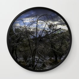 Trees in the morning Wall Clock