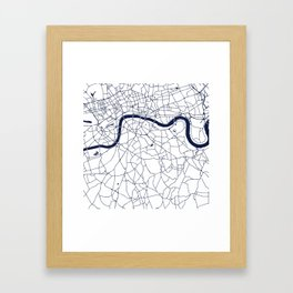 London White on Navy Street Map Framed Art Print