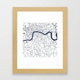 London White on Navy Street Map Framed Art Print
