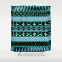 pirates Shower Curtains featuring Geometric Pirates by Alice Gosling