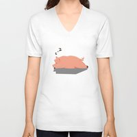 pig V-neck T-shirts featuring Pig by C.t. Chain