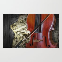 Cello with Bow a Stringed Instrument with Classical Sheet Music Rug