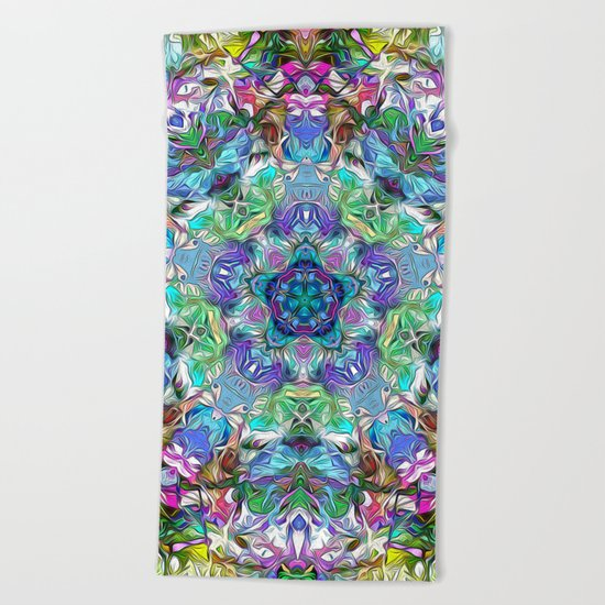 Five Points of Color Abstract Beach Towel
