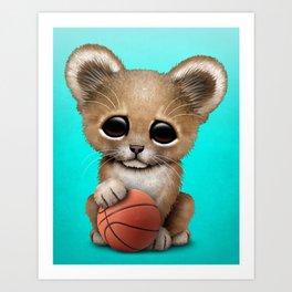 Lion Cub Playing With Basketball Art Print