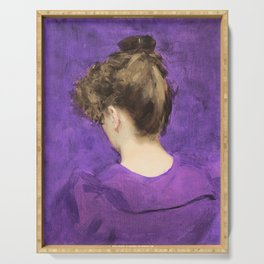 Portrait of a Lady  in Violet Serving Tray