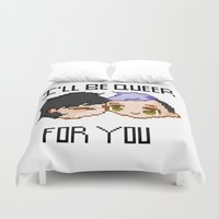 queer Duvet Covers featuring I'll Be Queer For You-Kawaii Pixel Art by Qkids Apparel and Accessories