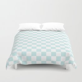 Small Checkered - White and Light Cyan Duvet Cover