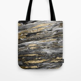 Stylish gold abstract marbleized paint Tote Bag
