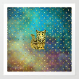 Bohemian Cat Golden Decor on Paint Background Art Print