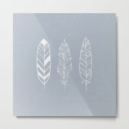 Three feathers - blue Metal Print