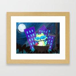 Mr. Raccoon's Midnight Moon Song Framed Art Print