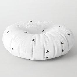 Minimal Positive Black + Off White Pattern Floor Pillow
