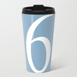 number six sign on placid blue color background Travel Mug
