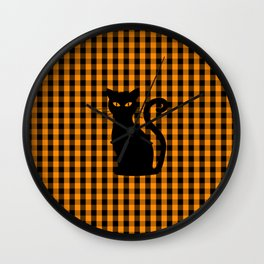 Black Halloween Cat on Orange Pumpkin Gingham Check Wall Clock