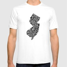 Typographic New Jersey White LARGE Mens Fitted Tee