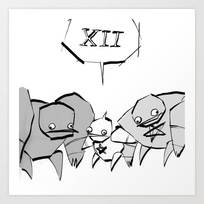 minima - slowbot 006 (clock) Art Print