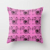 cameras Throw Pillows featuring Cameras by Lara Fotografica