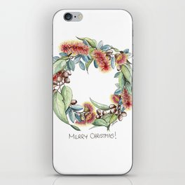 Floral Christmas Wreath, Illustration iPhone Skin