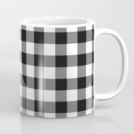 Black and White Country Buffalo check with digital canvas texture Coffee Mug