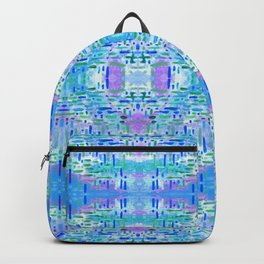 Almost Gingham Check Watercolor Abstract Pattern - Blue & Lilac Backpack