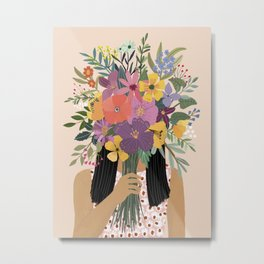 Woman with bouquet Metal Print