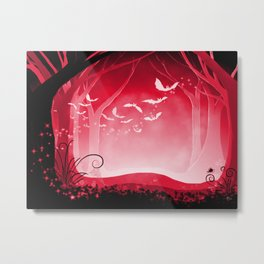 Dark Forest at Dawn in Ruby Metal Print