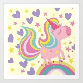 The magical rainbow unicorn Art Print