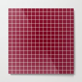 Oxblood - red color - White Lines Grid Pattern Metal Print
