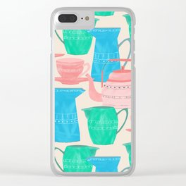 Jugs and Cups Pattern Clear iPhone Case