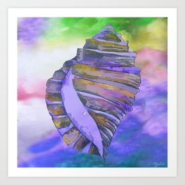 NAUTILUS CONCH SEA SHELL PURPLE IMPRESSIONS Art Print