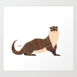 Cozy Otter Art Print