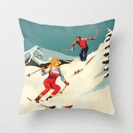 Retro Skiing Couple Throw Pillow