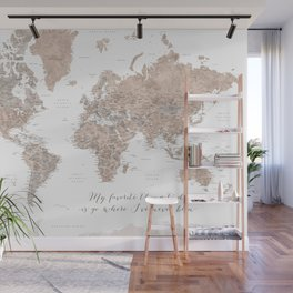 Where I've never been detailed world map in taupe Wall Mural