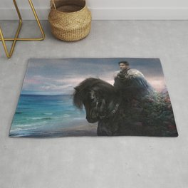 Knight on black Friesian horse Rug